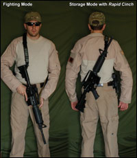 Over Strong Shoulder Reverse Carry allows for muzzle up carry.