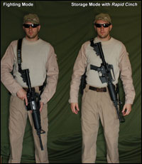 Over Strong Shoulder Carry allows the weapon to be Rapid Cinched to the Users front instead of his back.