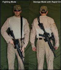 Under Strong Shoulder Carry allows for muzzle down carry.